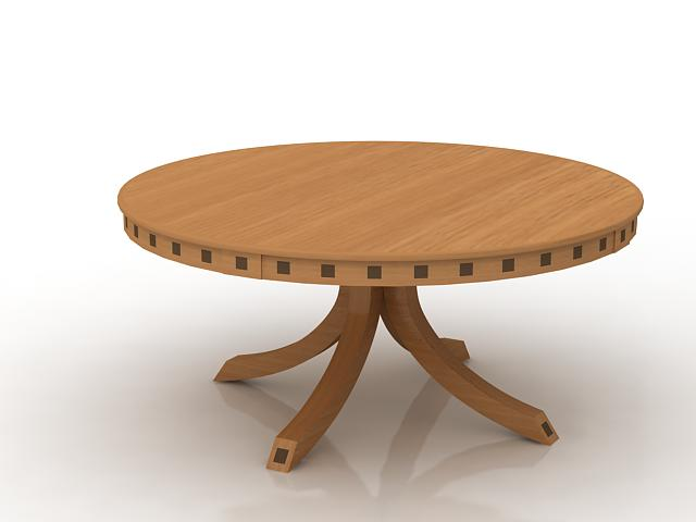 Round wood table 3d rendering