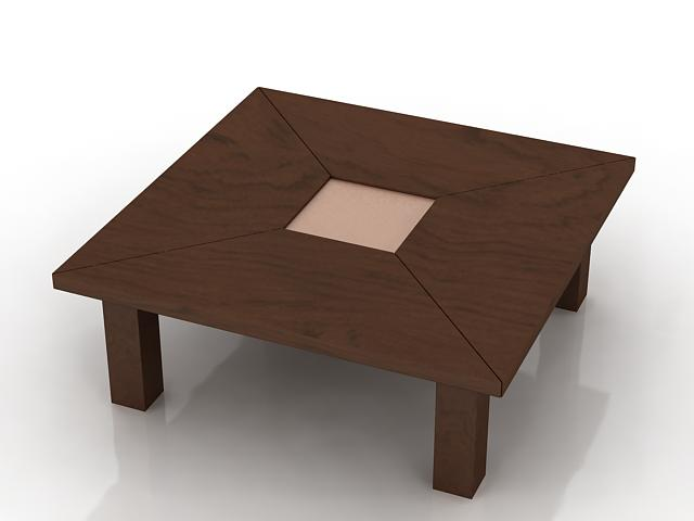 Wood square table 3d rendering