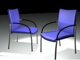 Blue plastic back conference chair 3d model preview