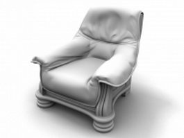 Wood base armchair 3d preview