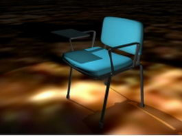 Blue conference chair with side table 3d preview