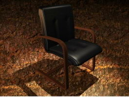 Upholstered red wood cantilever chair 3d preview