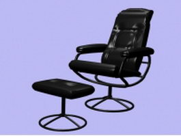 Black leather lounge chair and ottoman 3d preview