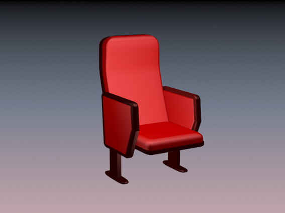 Red theater chair 3d rendering