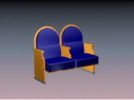 Two seater waiting chair 3d preview