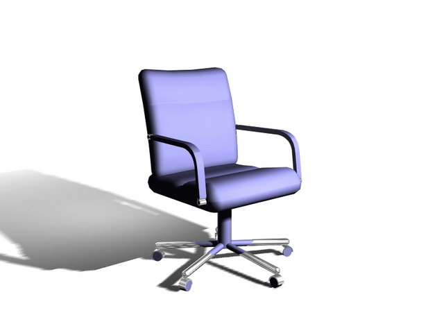 Blue office chair 3d rendering