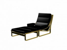 Black lounge chair 3d preview