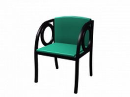 Black wood dining chair 3d model preview