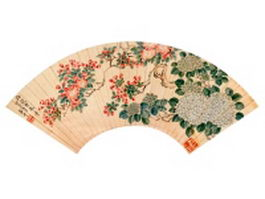 Chinese paper folding fan with flower pattern texture