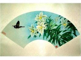 Paper folding fan with magnolia flower pattern texture