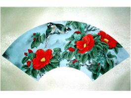 Paper folding fan - oriole bird and azalea pattern texture