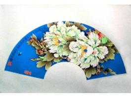 Paper folding fan - white peony flower pattern texture