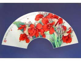 Silk folding fan - Red Cannas pattern texture