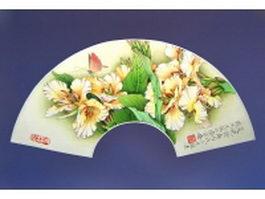 Paper folding fan - corn poppy flower pattern texture