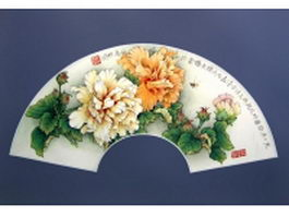 Paper folding fan - traditional Chinese paintings texture