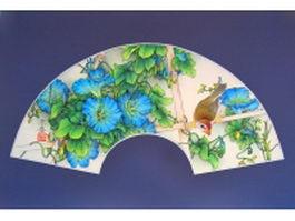 Paper folding fan - morning glory and bird pattern texture