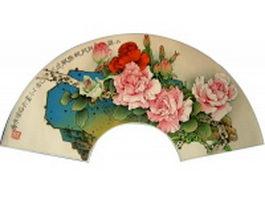 Paper folding fan - camellia flowers pattern texture