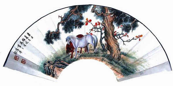 Paper folding fan - two horses under pine tree pattern texture