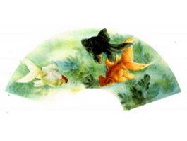 Paper folding fan - three happy goldfish texture
