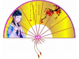 Silk folding fan - traditional Chinese painting of beautiful  texture