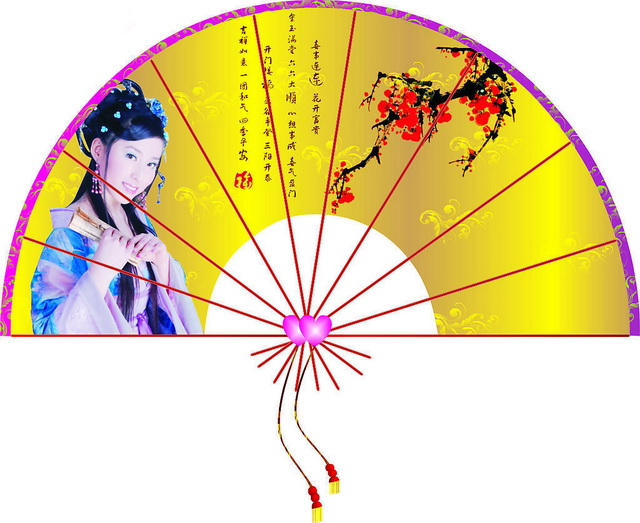 Silk folding fan - traditional Chinese painting of beautiful women pattern texture