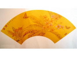 Golden paper folding fan - ancient painting texture