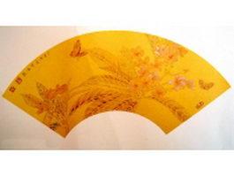 Golden paper folding fan - ancient painting texture