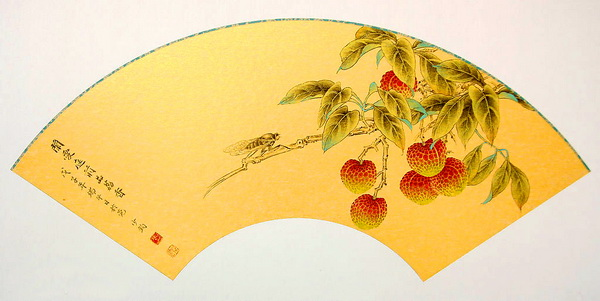 Paper folding fan - Chinese painting branches of litchi pattern texture