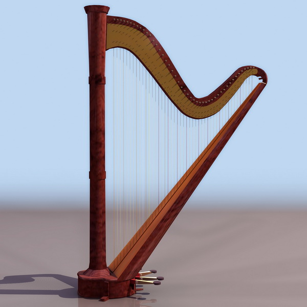 Single-action pedal harp 3d rendering