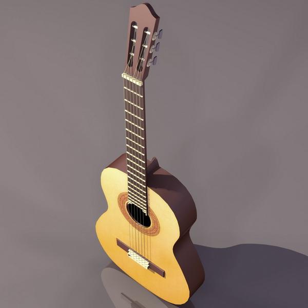 Modern acoustic guitar 3d rendering