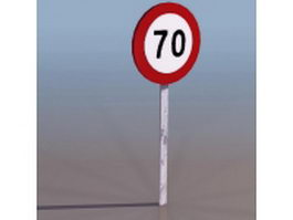 70km speed limit sign 3d preview