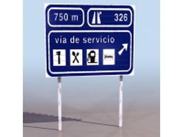 Service area sign 3d preview