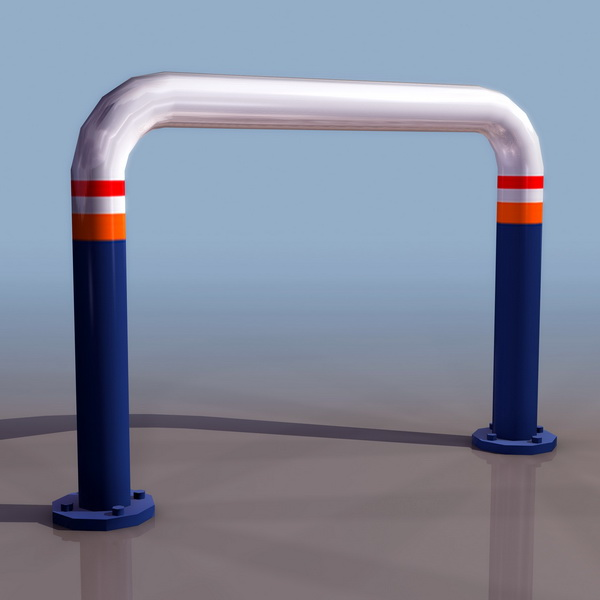 Road safety fence 3d rendering
