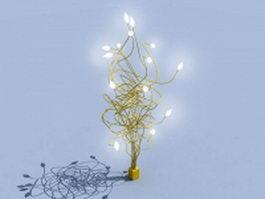 Golden metal tree lamp 3d model preview