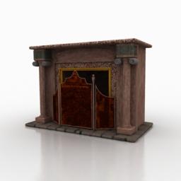 Granite stone fireplace 3d rendering