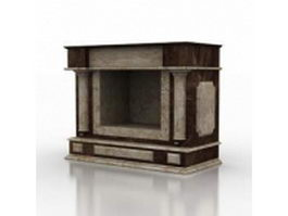 Brown marble fireplace 3d model preview