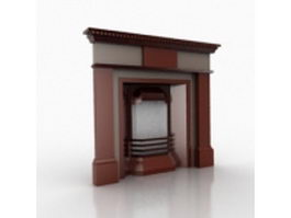 Contemporary style gas fireplace 3d model preview