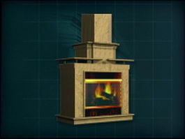 Wood mantel gas fireplace 3d model preview