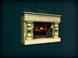 Decorative stone fireplace 3d model preview