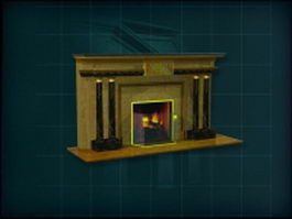 Golden marble fireplace 3d model preview