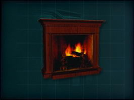 Ancient red wood mantel fireplace 3d preview