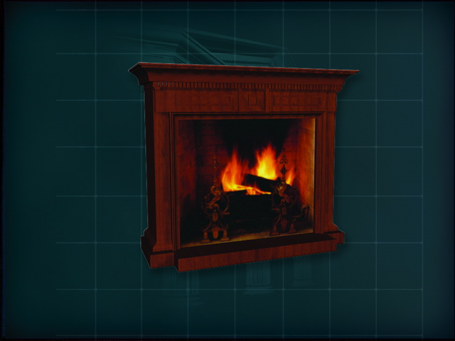 Ancient red wood mantel fireplace 3d rendering