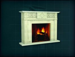 Stone cream wood fireplace 3d model preview