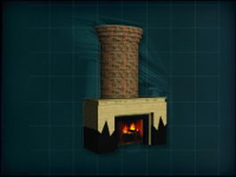 Brick chimney and stone fireplace 3d model preview