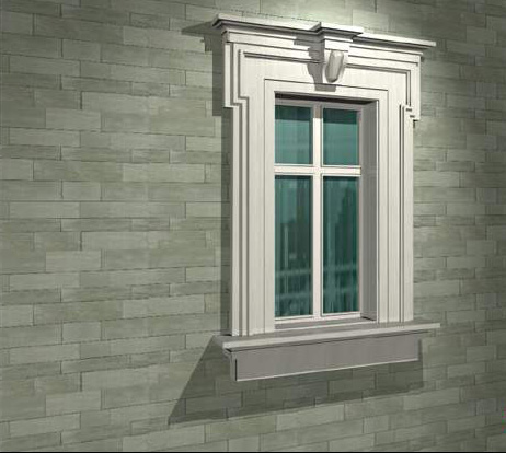 Gypsum decorative fixed window 3d rendering