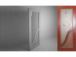 Frosted glass panel door 3d model preview