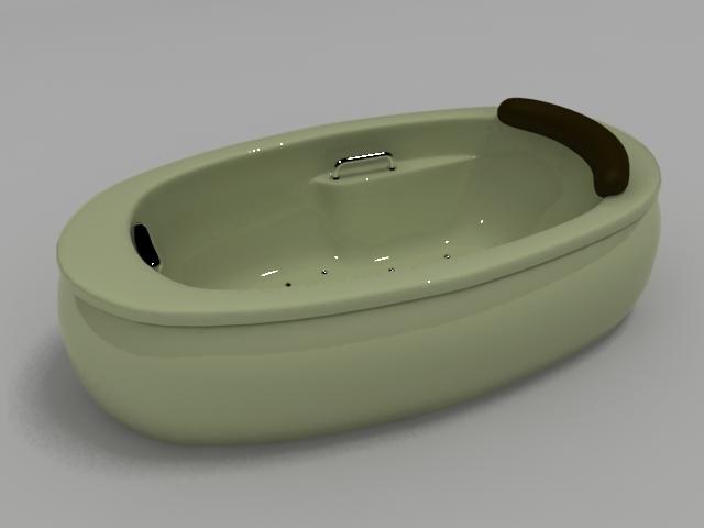 Oval massage bathtub 3d rendering