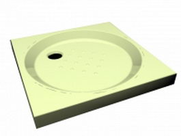 Square base acrylic pan shower tray 3d preview
