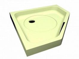 Corner deep shower tray 3d preview