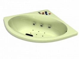 Corner whirlpool tub 3d model preview